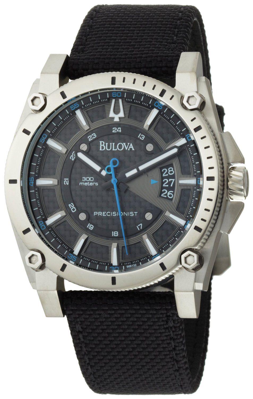 67523e10267 Bulova Men s 96B132 Precisionist Champlain Charcoal Dial Black Strap Watch   Watches  Amazon.com