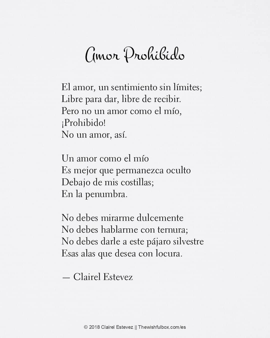 Sigue Clairelestevez En Instagram Amor Prohibido Poema De Amor Poesía En Español Palabras Escritos Poema De Amor Poemas Románticos Amor Prohibido
