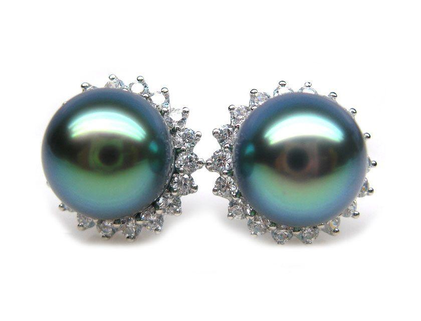 Black Pearls Black Tahiti Pearl Earring 9 10mm Aaa Pearl Earrings Pearl And Diamond Earrings Tahitian Pearl Earrings