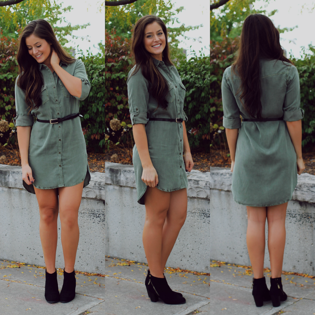 Olive Button Up Shirtdress