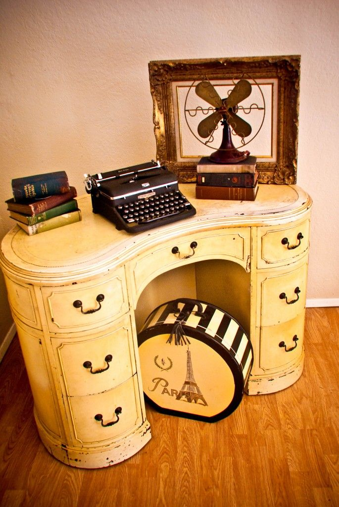 """...a 1930s ladies writing desk,"" complete with a lovely vintage typewriter."
