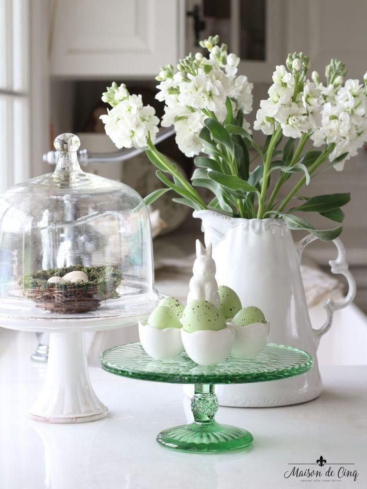 Easter Decor Ideas Pitcher White Flowers Green Eggs Cloche