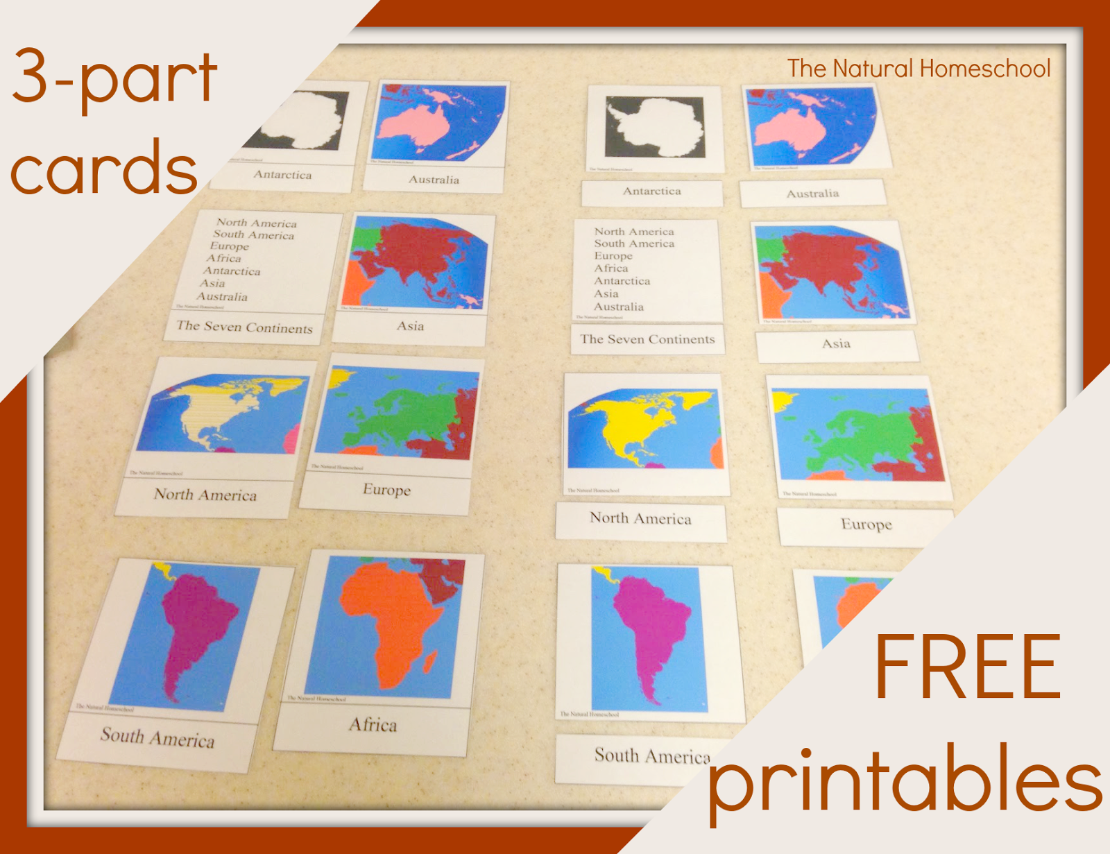 Continent Stu S With Preschoolers Continent Printable 3 Part Cards