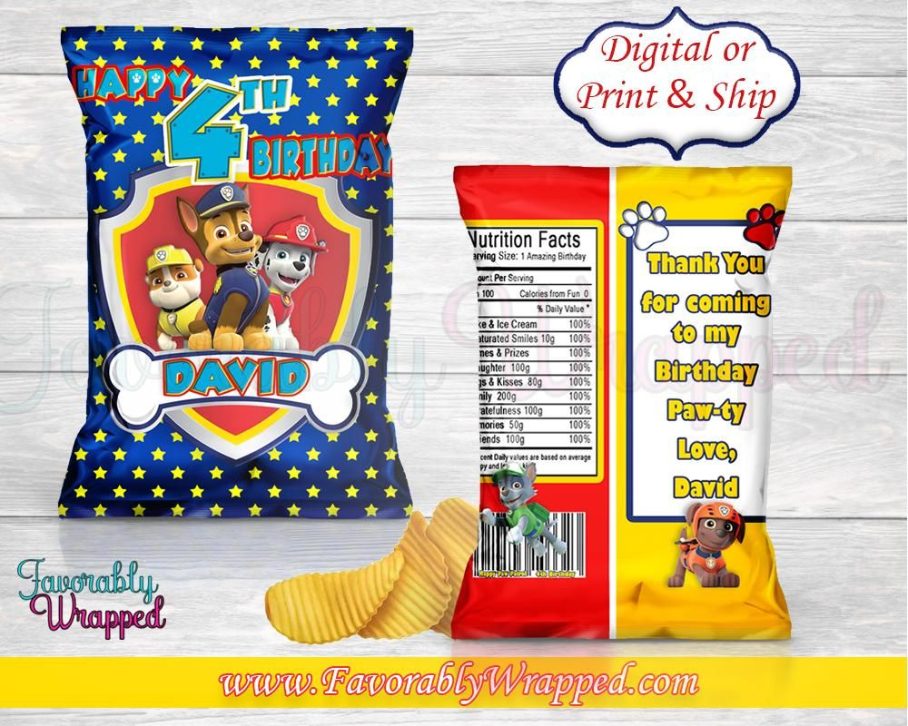 Paw Patrol Chip BagPaw Patrol Chip BagPaw Patrol BirthdayPaw Partol PartySkye Paw Patrol - Chip bags, Paw patrol birthday, Paw patrol birthday invitations, Paw patrol theme party, Paw patrol party decorations, Paw patrol decorations - treats inside and MAILED OUT within 58 business days  Allow for shipping time before your event is due  Your order will be complete when it arrives to you   PROCESSING TIME PROOFS are EMAILED to you 23 business days after your order is confirmed  Your approved Digital PDF File will be emailed 24hrs AFTER approval  You are allowed ONLY up to 2 text revisions after proofs have been sent Please check your file IMMEDIATELY upon receipt  Please check for errors and misspellings  You must notify me within 24 hours after delivery if there is an issue  If there is no notice within the 24 hours, your file will be automatically emailed to you  Your order will be MAILED OUT within 58 business days, if not earlier, AFTER you have approved your proofs ONLY  PLEASE NOTE Processing time for some custom orders may that longer because of size  I will be in constant communication with you about any issues   Weekends and Holidays are not included in any time frames stated  If you place an order on Friday, your first business day is Monday  You are free to print as many bags as you want with your file using a color inkjet or color laser printer For best results, a laser printer is recommended  Your PDF file can also be printed at your nearest print shop (Staples, Office Depot, FedEx etc ) Please keep in mind, many print shops will not print licensed characters  I recommend either printing from home or use the