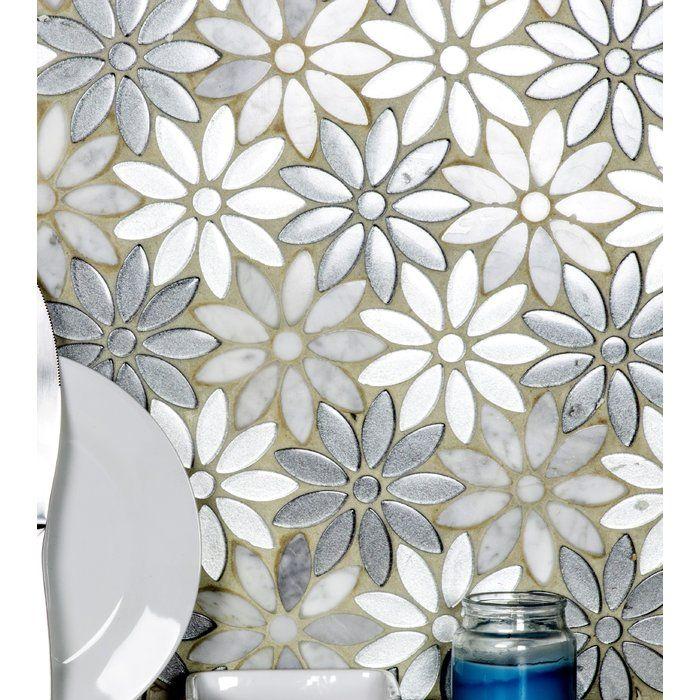 Flower Illusion 12 X 12 Glass Stone Deco Mosaic Tile Flower Tile Backsplash Flower Tile Mosaic Tiles