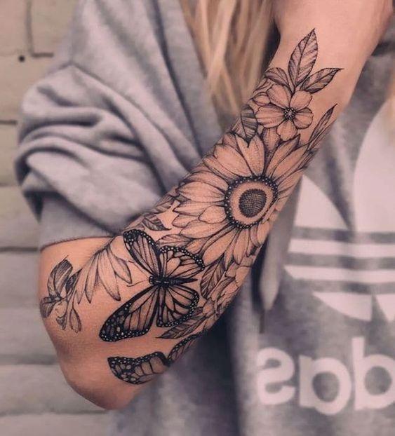 39 Das mais belas Tatuagens Florais nos braços – Página 3 de 8 – 123 Tatuagens #tatoofeminina - tatoo feminina