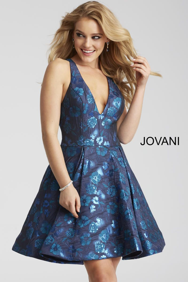 Style 52154 from Jovani is a floral sleeveless fit and flare short ...