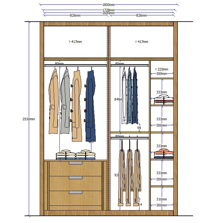 Closet elevation 4 | Rangements | Pinterest | Wardrobes, Bedrooms ...