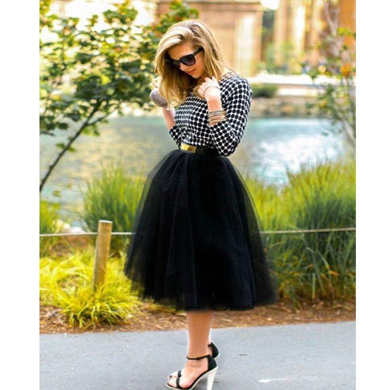 c2c95547f60 6 Layers Midi Tulle Skirts Womens Tutu Skirt Elegant Wedding Bridal  Bridesmaid Skirt Lolita Underskirt Petticoat black