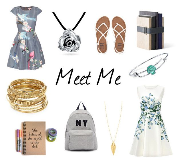 """""""Meet Me"""" by mayday004 ❤ liked on Polyvore featuring ERIN Erin Fetherston, Ted Baker, Menu, Billabong, Joshua's, Bling Jewelry, ABS by Allen Schwartz, Disney and Rebecca Minkoff"""