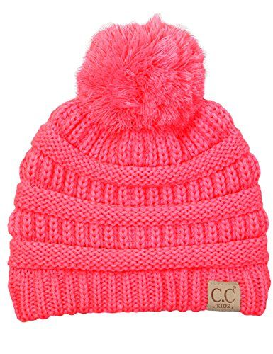 Funky Junques CC Kids Baby Toddler Cable Knit Childrens Pom Winter Hat  Beanie d3a99ab548af