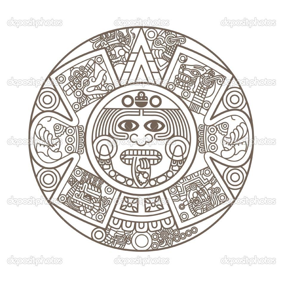 Aztec Calendar Coloring Page Tattoo Aztec Calendar Pattern