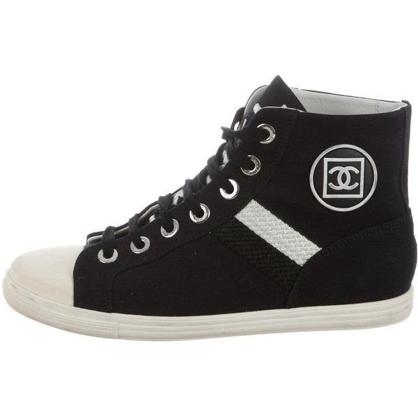 Pre-owned Chanel CC High-Top Sneakers ($830) ❤ liked on Polyvore featuring shoes, sneakers, black, black shoes, black hi tops, black sneakers, chanel trainers and chanel sneakers