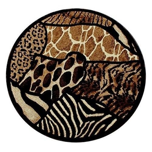 Round Animal Print Rug Area Rugs Black Tab Brown 4 Foot By 4 Foot Circle New Area Rug Design Round Area Rugs Area Rugs