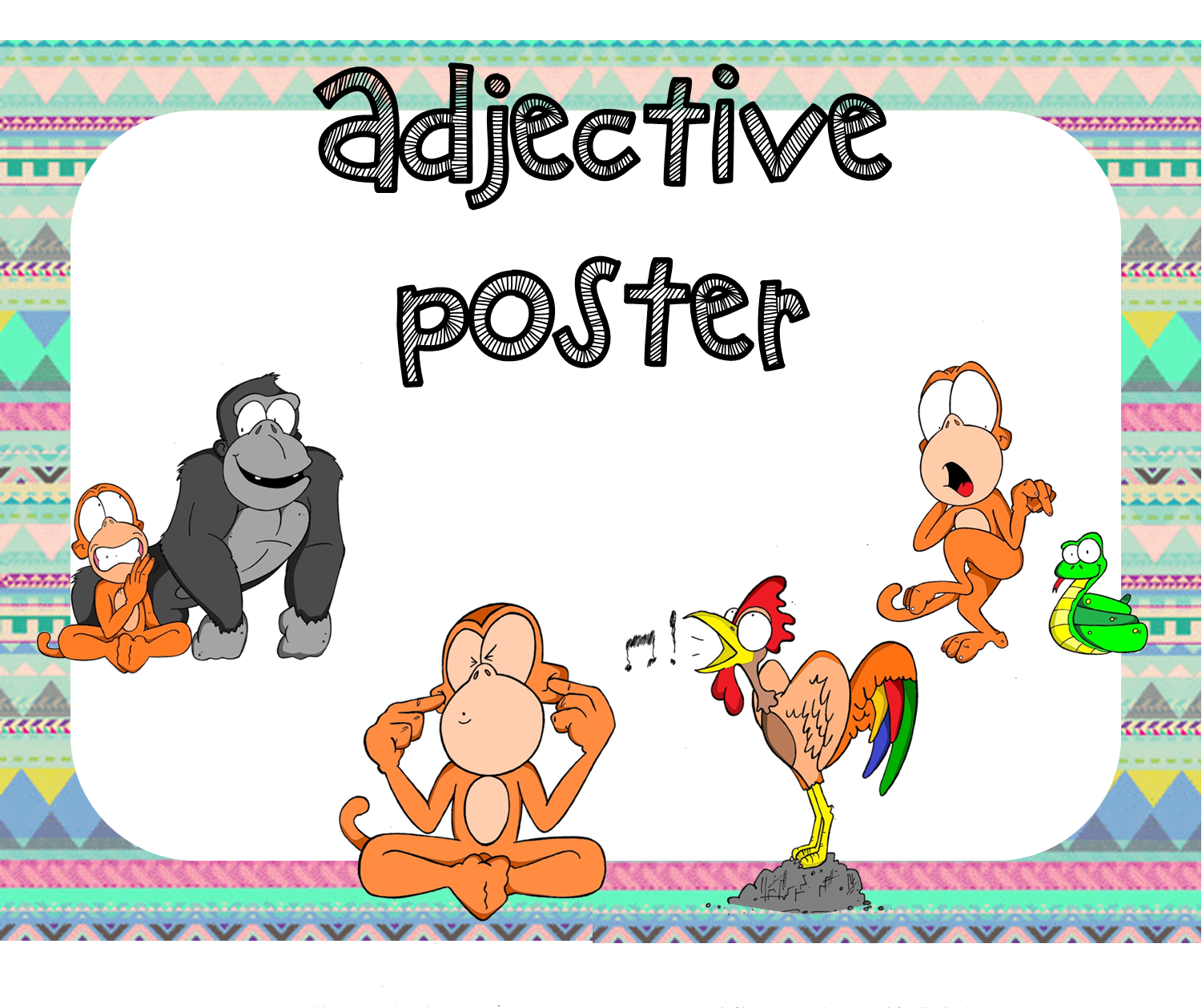 An Adjective Poster For Young Learners Includes An A4