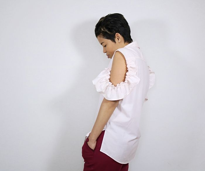 Men's Shirt Refashion: Cold Shoulder Ruffle Blouse Side