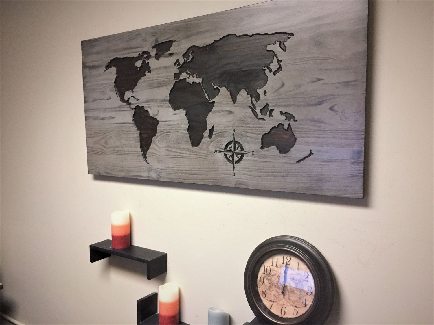World map home decor carved wood wall art stained wooden map world map home decor carved wood wall art stained wooden map rustic wood gumiabroncs Image collections