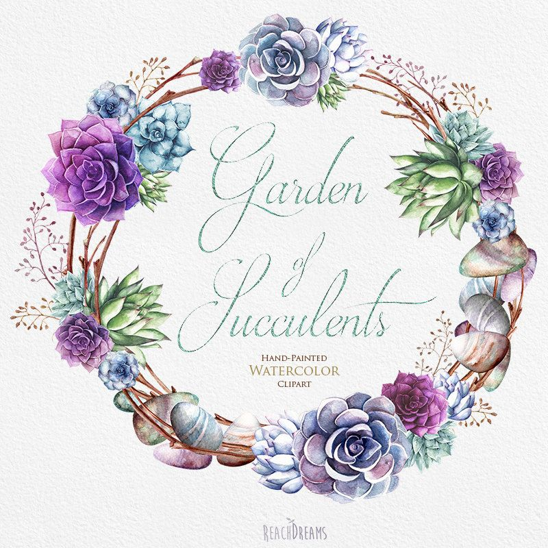 Wedding Invitation Stylish Watercolor Succulents Wreath \ Bouquets - fresh wedding invitation vector templates free download