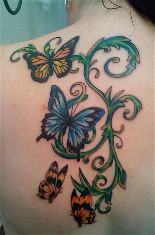 951bab63271b5 BUTTERFLY FLASH TATTOO   Butterflies with vines – Tattoo Picture at  CheckoutMyInk.com