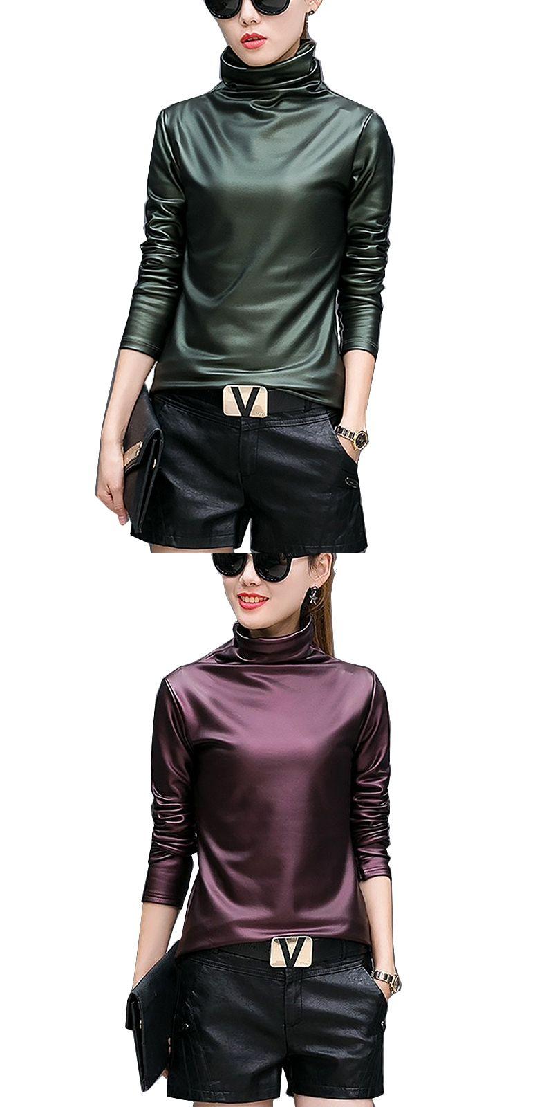 4bb89e30ffa Plus size 4XL t-shirts women harajuku sexy long sleeve Turtleneck velvet t  shirt female tops american apparel PU Leather t shirt