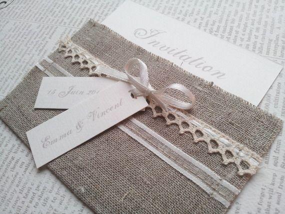 Faire part mariage, personnalisable, Invitation Romantique – pochette lin et dentelle écru , différents modèles
