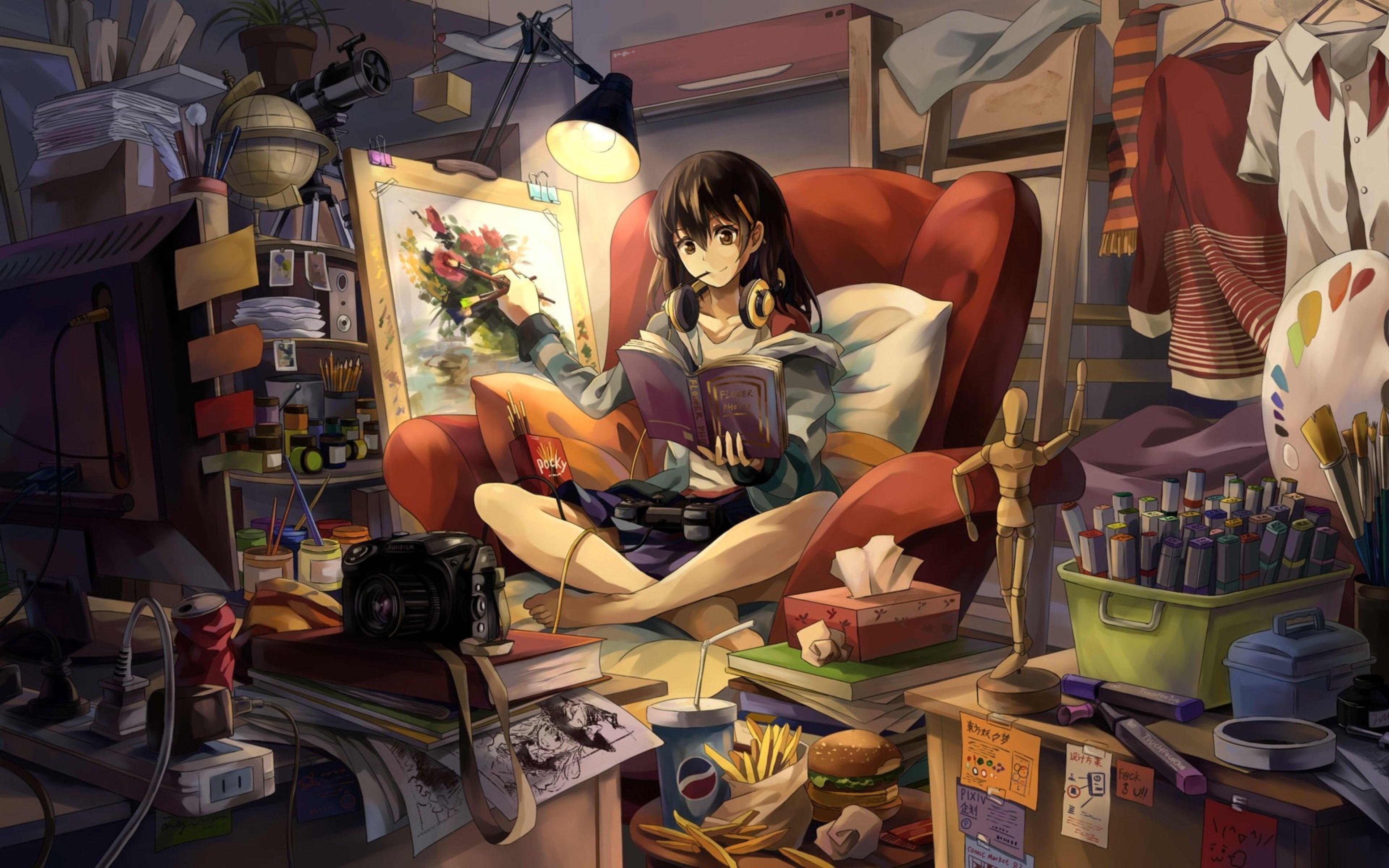 3840x2400 Wallpaper Neko Yanshoujie Room Girl Graphic Hand Headphones Easel Shape Books Food Camera L Anime Tapete Madchen Gemalde Anime Landschaft