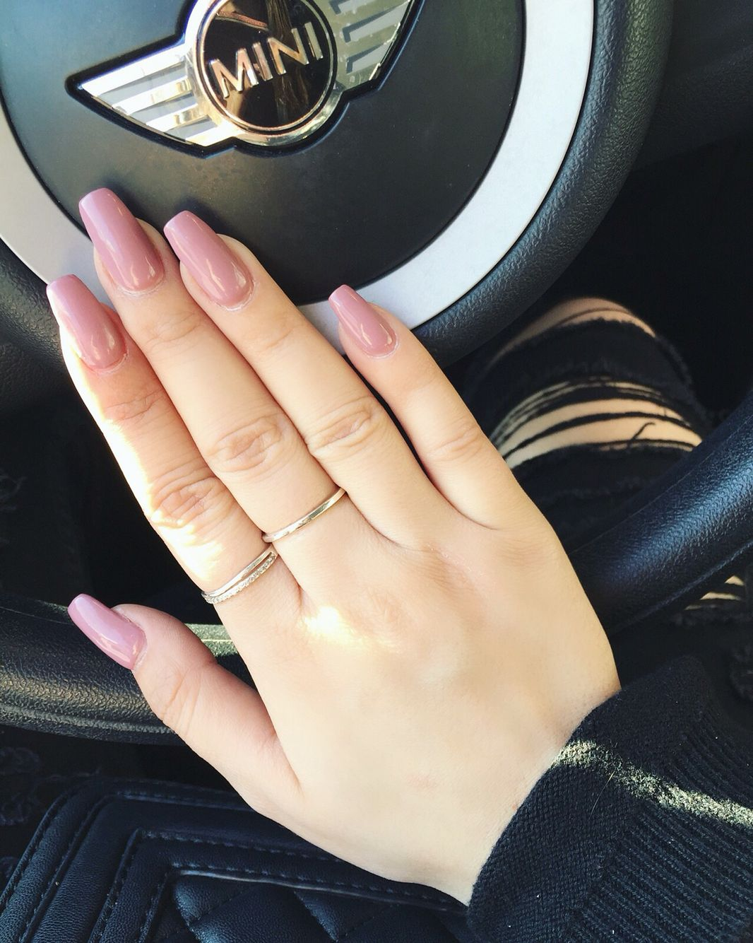Pink Long Brown Coffin Square Nails Acrylics Mini ύ ύ