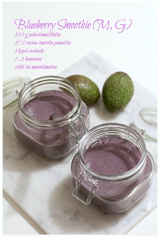 Viher-mustikkasmoothie (M, G) ja Ruokaongelmaisen tunnustuksia | Blueberry smoothie