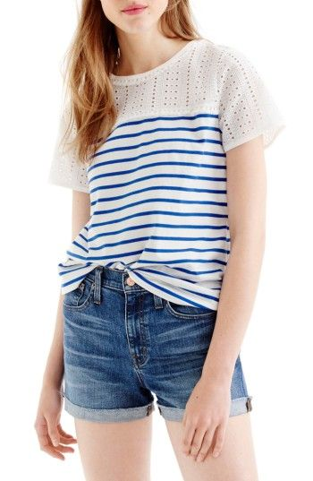 db6511ed7f05 ... returns on J.Crew Eyelet Stripe Tee at Nordstrom.com. For a fun twist,  pretty eyelet is mixed with classic stripes in a tee with a slightly boxy  fit.