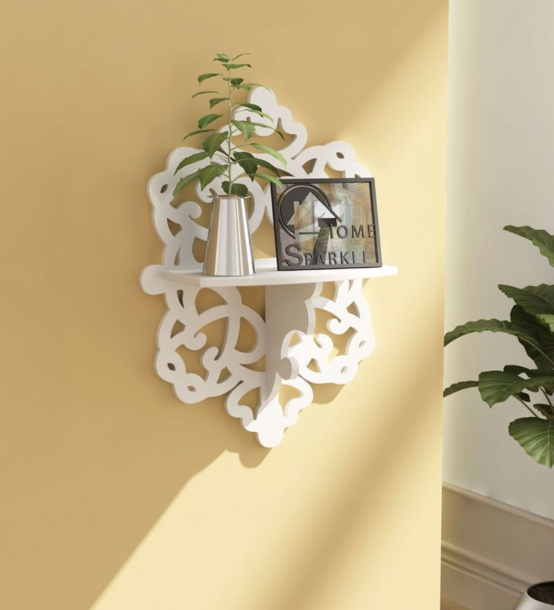 Home Sparkle White Wooden Carved Shelf By Home Sparkle Online   Wall  Shelves   Home Decor