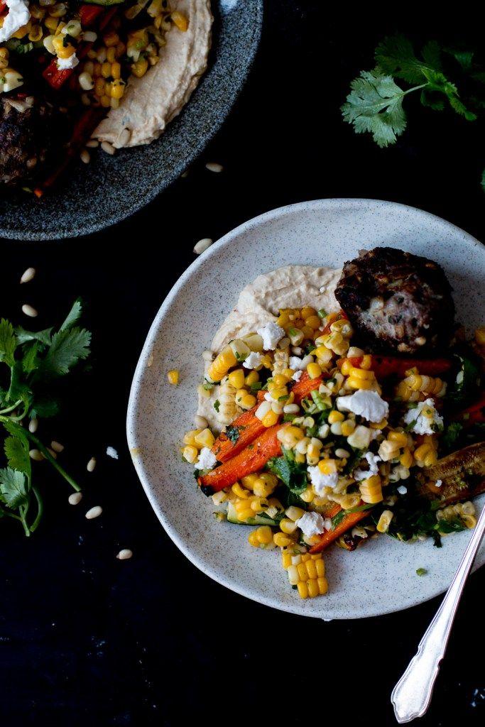 Ottolenghi's Lamb Kofta with Corn, Zucchini & Roasted Carrot Salad and Homemade Hummus | The Brick Kitchen