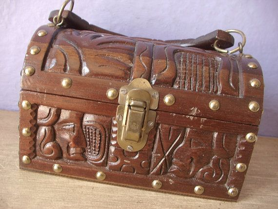 Vintage hand carved wood box with handle from Honduras, Aztec images, brass and wood box, Latin decor, gift for him gift for her