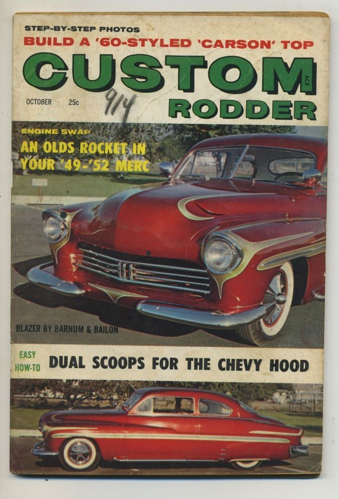 custom rodder magazine vtg oct 1959 hot rod drag race mercury ford ...