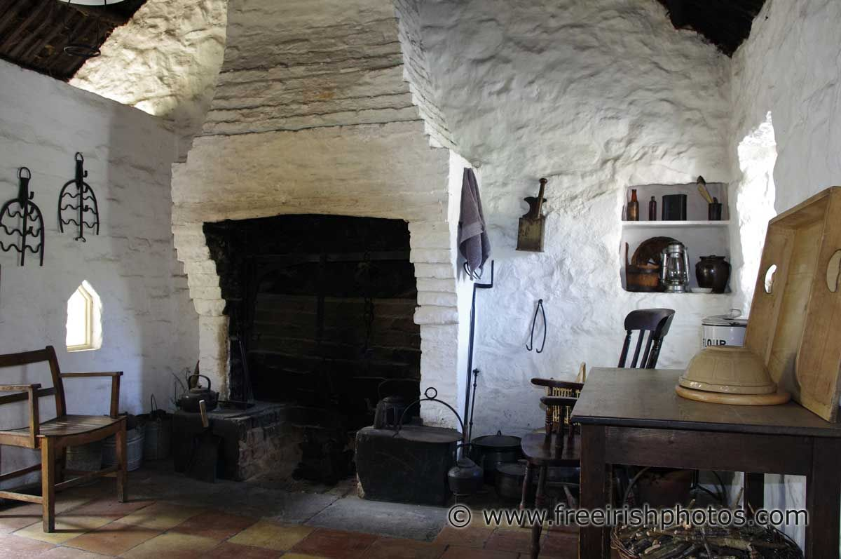 Fireplace in old whitewashed Irish cottage | ♧ Erin\'s Isle ...