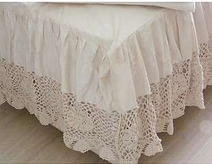 Vintage Crochet Lace Bed Skirts Super King Crochet Lace Bed