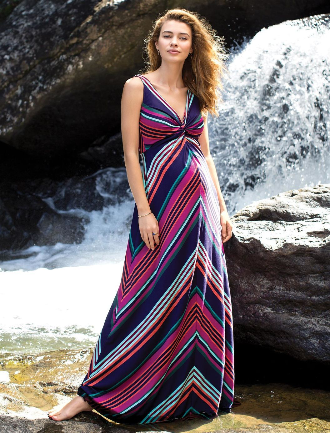27864488671 Twist Front Striped Maternity Maxi Dress