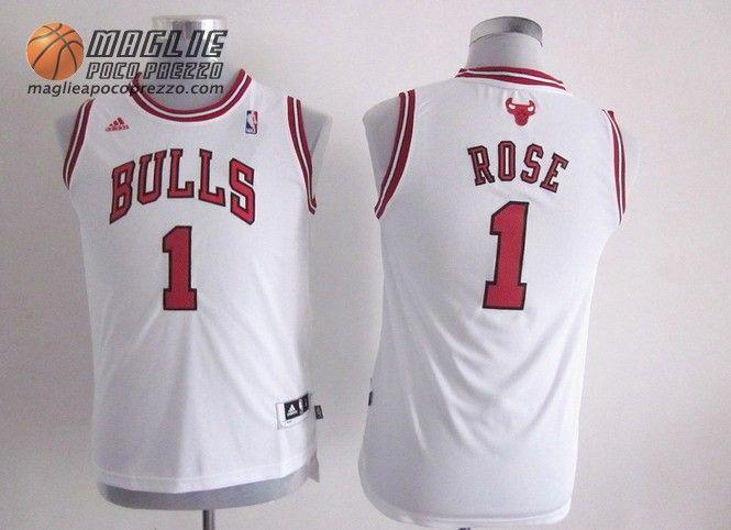 Canotte nba Bambino Chicago Bulls bianco Derrick Rose  1  0d05e2b32381