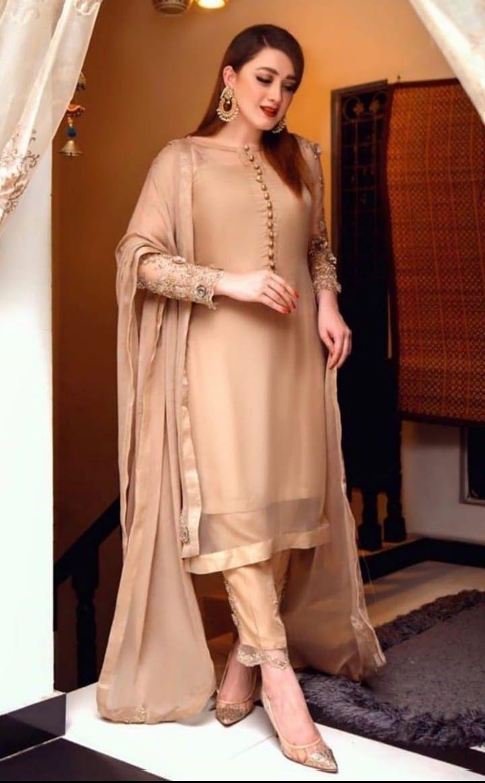 Beige Imprimé Floral avant fente Indian Anarkali Kurta Kurti Parti Designer Robe