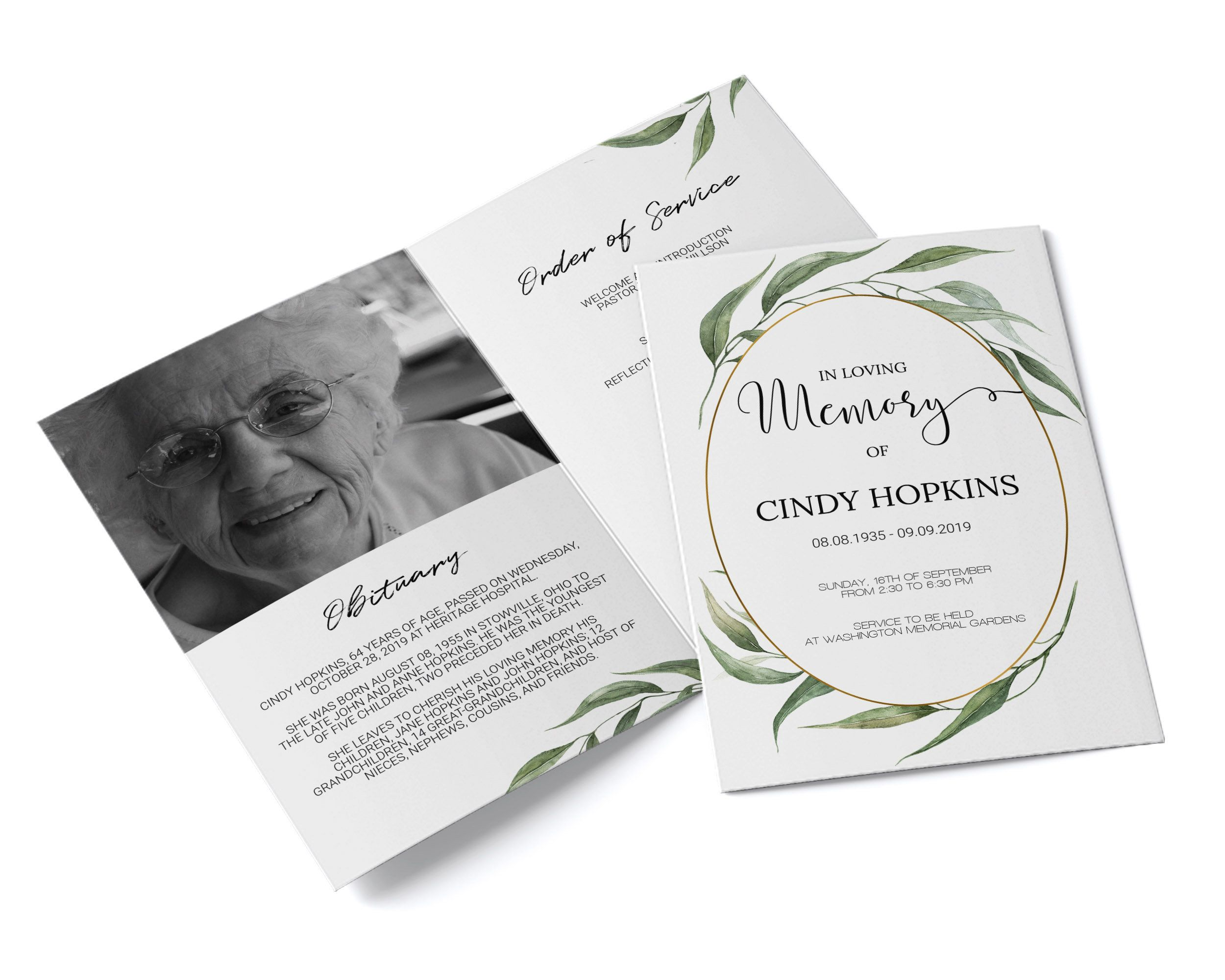 Funeral program template with greenery leaves memorial