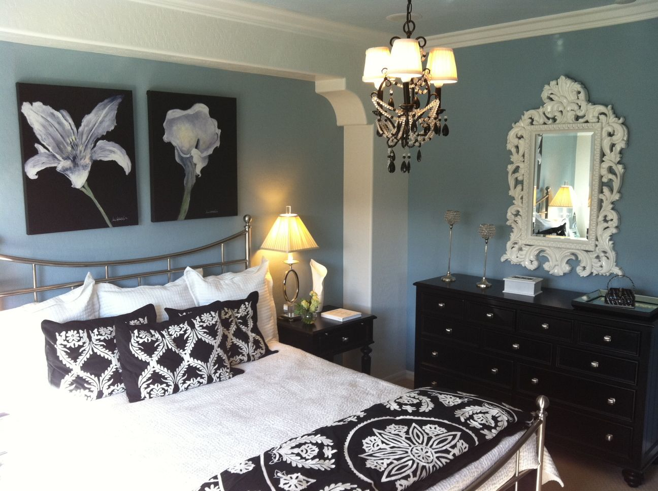 Blue black white glamorous photo from my model home tour