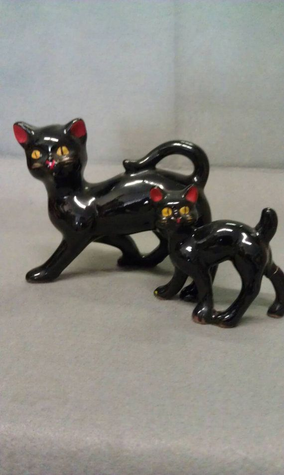Vintage Black Cat with Kitten with Red Ears and by GOCRKAntiques