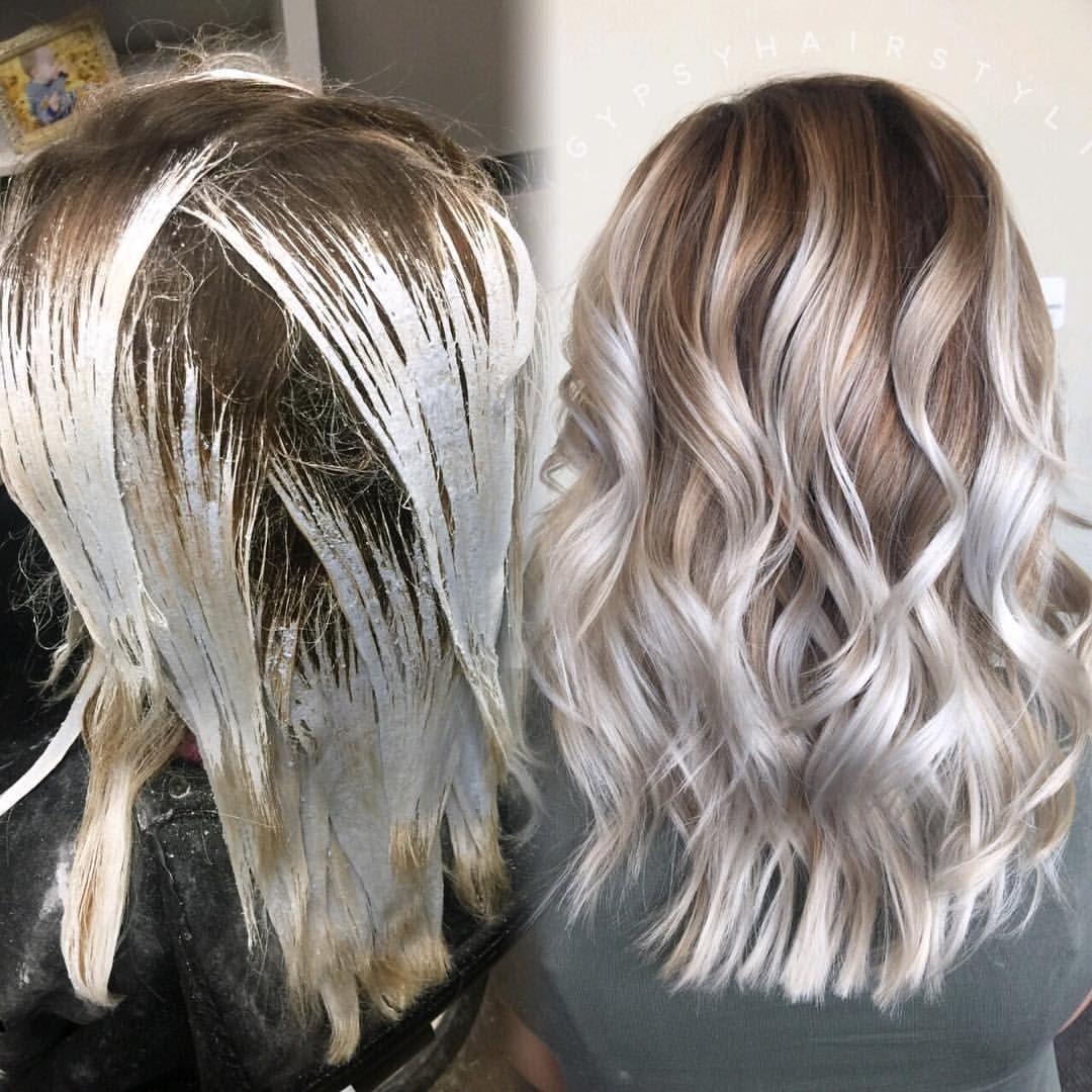 Balayage medium length hair blonde hair high contrast hair