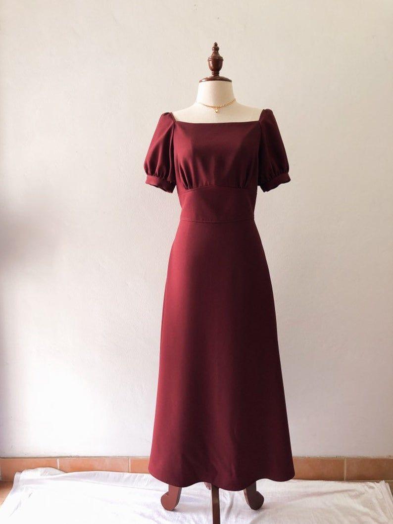 Snow White Dress Dark Maroon Burgundy Sleeve Party Dress Puff Etsy In 2021 Dresses Snow White Dresses Party Dress [ 1059 x 794 Pixel ]
