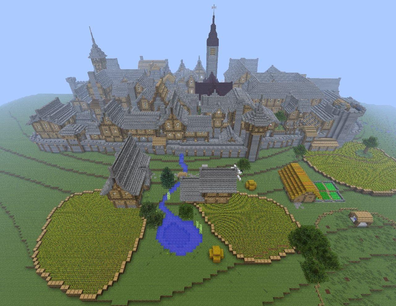 Walled Town In Minecraft Minecraft Creations Minecraft Farm