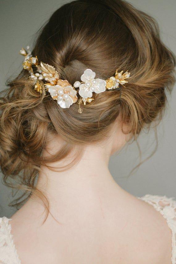 Bridal headpiece, bridal hairpiece, Gold