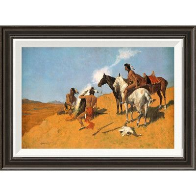 "Global Gallery 'The Smoke Signal' by Frederic Remington Framed Painting Print Size: 16"" H x 22"" W x 1.5"" D"