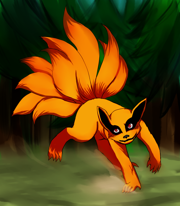A Rather Cute Pic Of Kurama Or Nine Tailed Spirit Fox Kyuubi Naruto Cute Nine Tailed Fox Naruto Kawaii Neko Girl