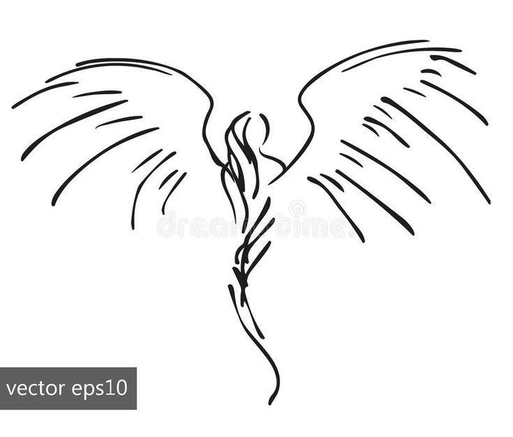 Photo of Foto über Von Hand gezeichneter pinstriping Engel, skizziere…