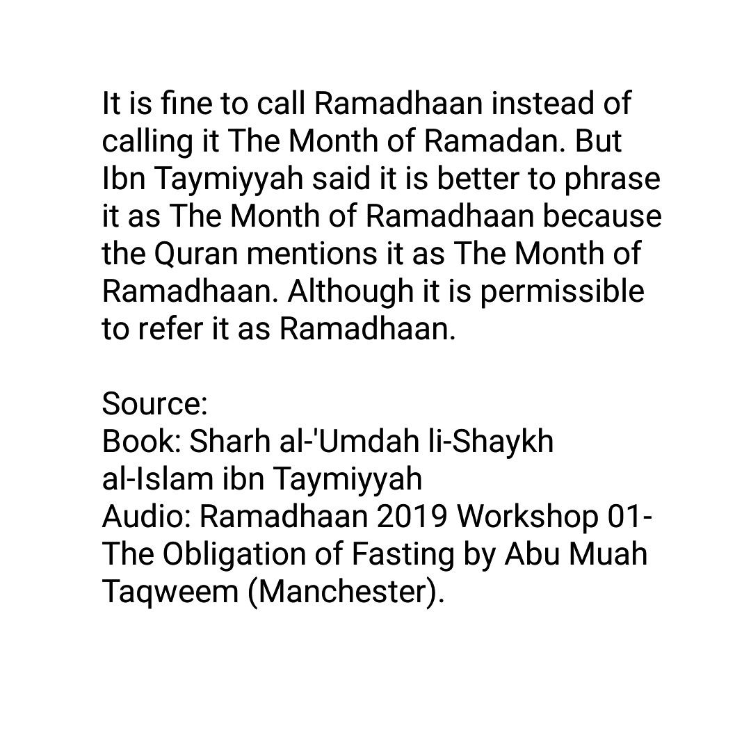 How Should I Say It Workshop For >> Is It Allowed To Say Just Ramadhaan Or Should We Say The