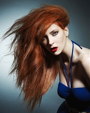 medium red frizzy wavy Rock-Chick hairstyles for women